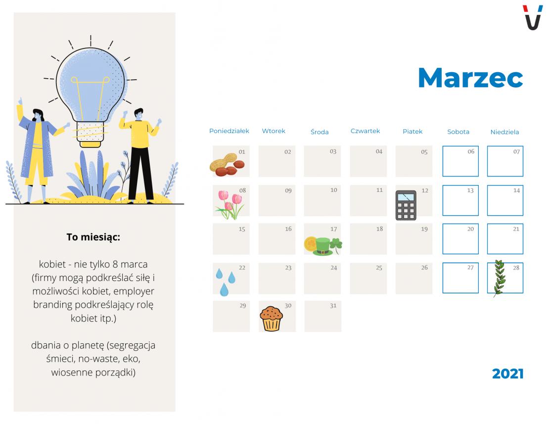 kalendarz dla marketingowca marzec 2021